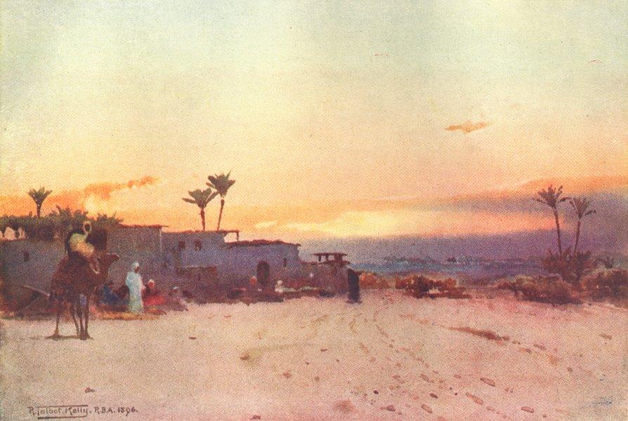 Associate Product EGYPT. A Fellah village 1912 old antique vintage print picture
