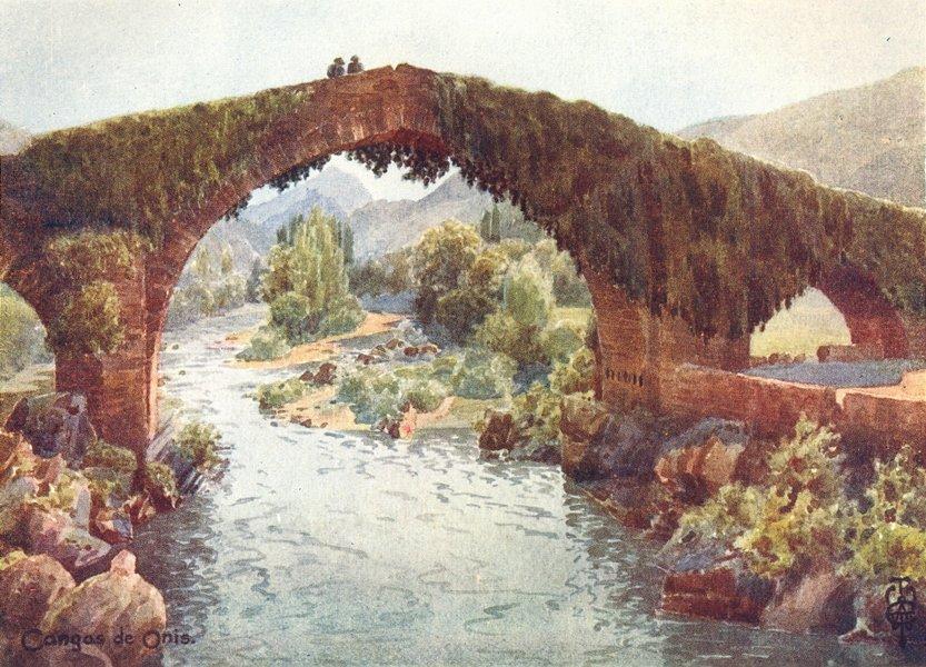 Associate Product SPAIN. Cangas de Onis. bridge, Sella 1906 old antique vintage print picture