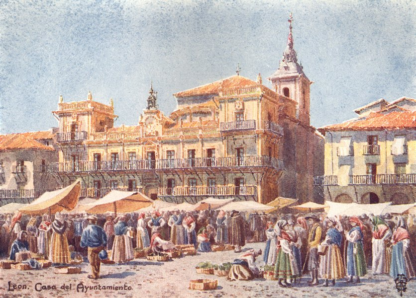 Associate Product SPAIN. Leon. market & Casa del Ayuntamiento 1906 old antique print picture