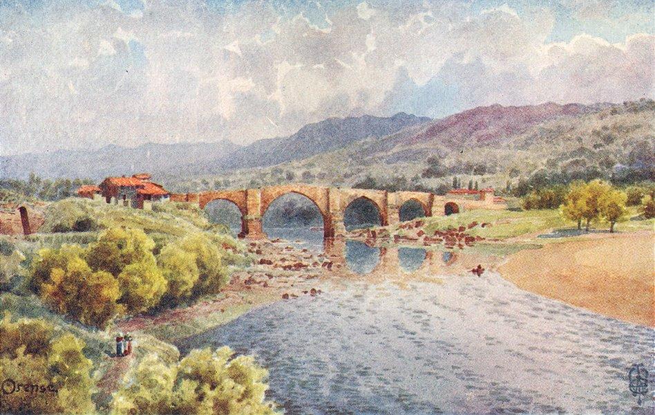 SPAIN. Orense. bridge, Mifio 1906 old antique vintage print picture