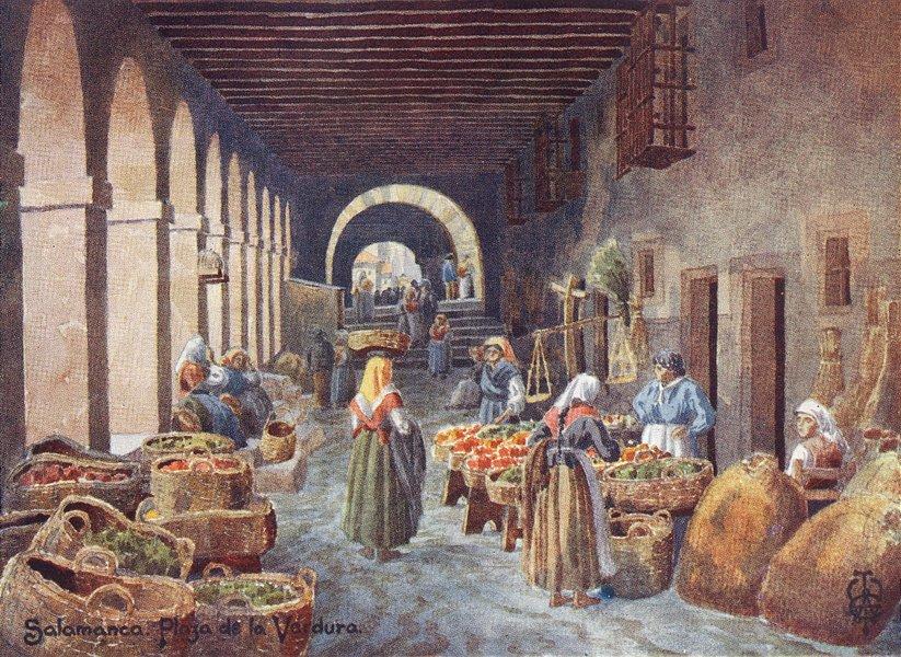 Associate Product SPAIN. Salamanca. Arcades, Plaza de Verdura 1906 old antique print picture