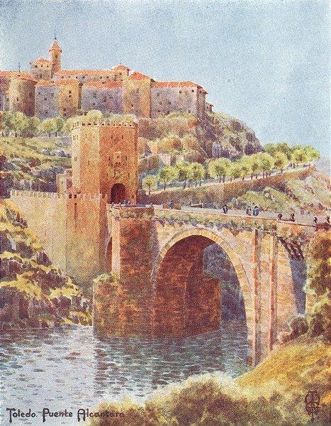 Associate Product SPAIN. Toledo. bridge of Alcantara 1906 old antique vintage print picture