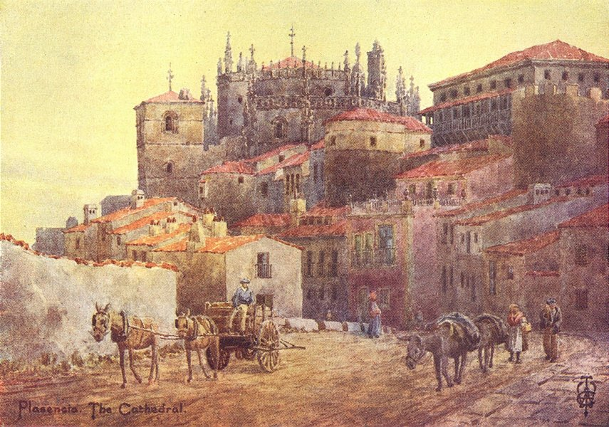 Associate Product SPAIN. Plasencia. town walls & cathedral 1906 old antique print picture