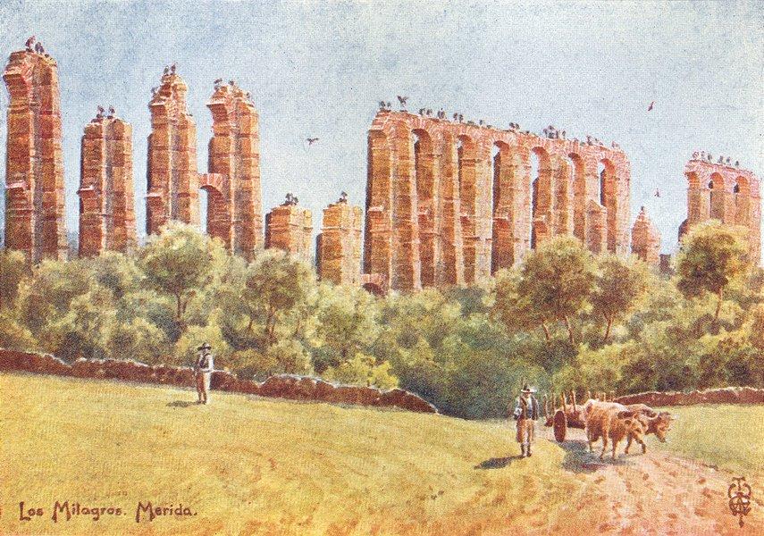 Associate Product SPAIN. Merida. Los Milagros, ruins, Great Aqueduct 1906 old antique print