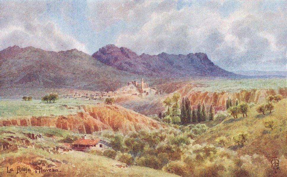 EBRO. Rioja Alavesa. Looking Northwards across 1906 old antique print picture