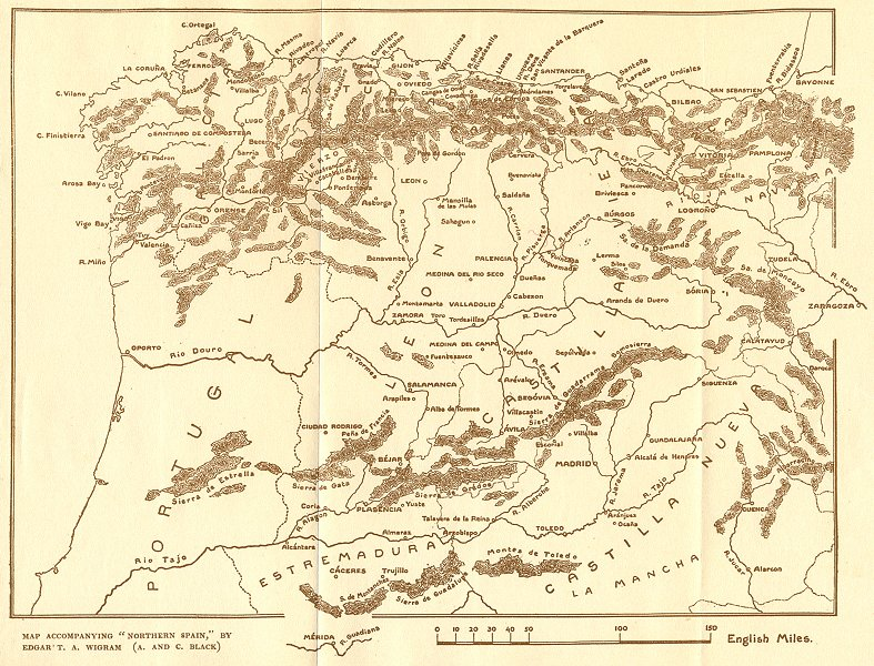 Associate Product SPAIN. Sketch map North 1906 old antique vintage plan chart