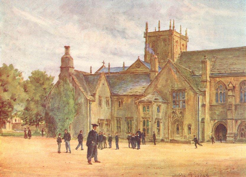 DORSET. Sherborne College 1906 old antique vintage print picture