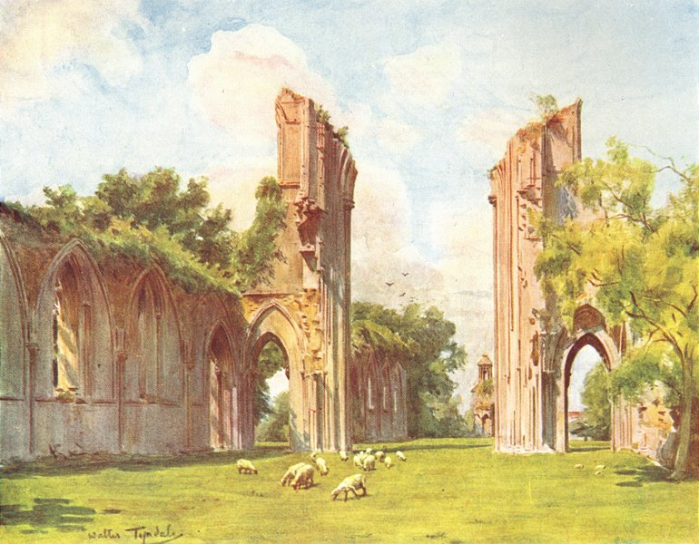 Associate Product SOMERSET. Glastonbury Abbey 1906 old antique vintage print picture