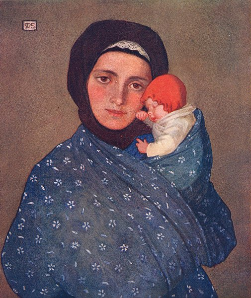 Associate Product SLOVAKIA. Mother & Child at Mengusovce 1909 old antique vintage print picture