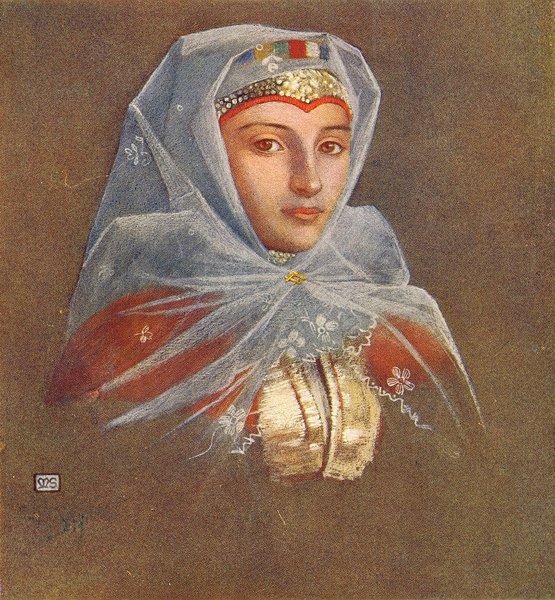 Associate Product ROMANIA. Belle of Zsdjar 1909 old antique vintage print picture