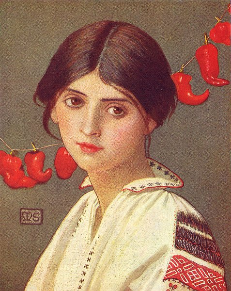 Associate Product PRETTY LADIES. A Rumanian Maiden 1909 old antique vintage print picture