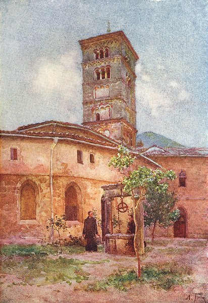 Associate Product ROME. Garden Monastery Sta scholastica, Subiaco 1905 old antique print picture