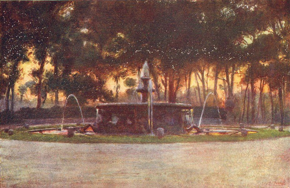 Associate Product ROME. Sea-horse fountain, Villa Borghese 1905 old antique print picture