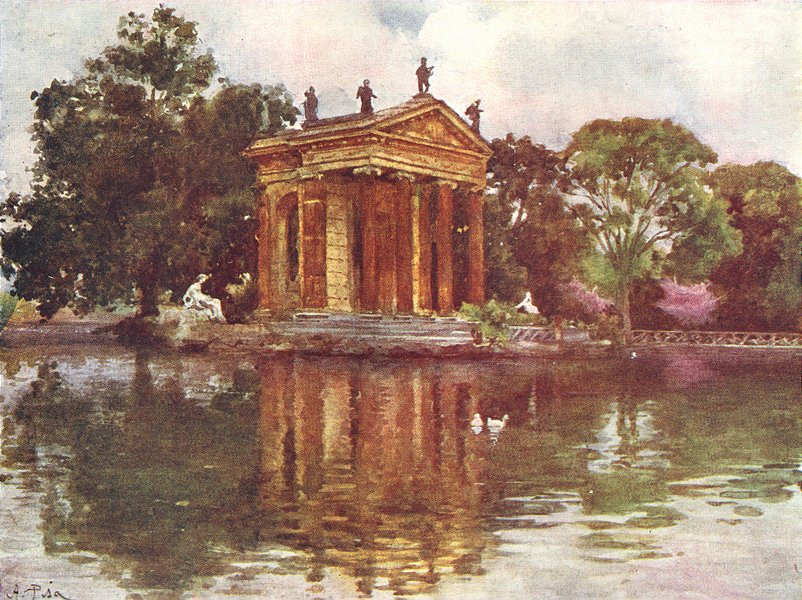 Associate Product ROME. Ornamental water, Villa Borghese 1905 old antique vintage print picture