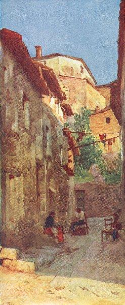 ROME. Village St at Anticoli, Sabine Hills 1905 old antique print picture