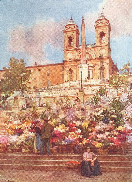Associate Product ROME. Spanish Steps, Piazza di Spagna 1905 old antique vintage print picture