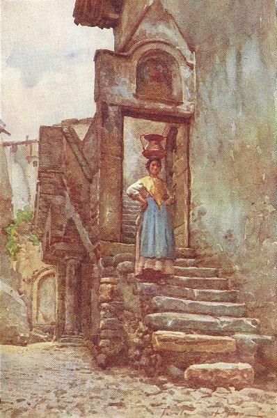 Associate Product DRESS. Roman Peasant copper water pot 1905 old antique vintage print picture