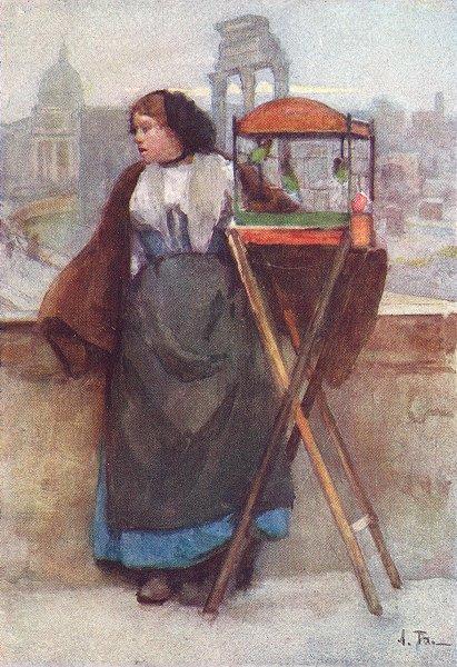 Associate Product ROME. Girl selling birds, Via Del Campidoglio 1905 old antique print picture