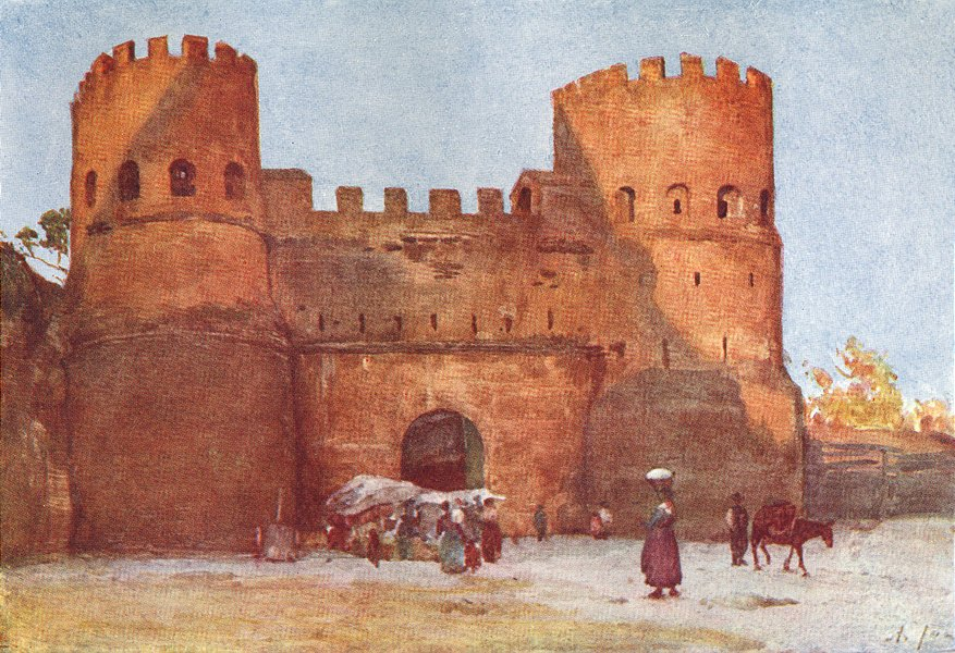 Associate Product ROME. Porta San Paolo 1905 old antique vintage print picture