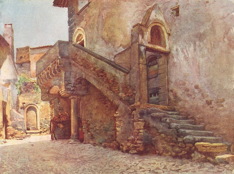 Associate Product ITALY. Mediaeval House at Tivoli 1905 old antique vintage print picture