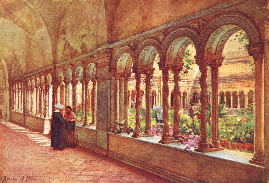 Associate Product CHURCHES. Cloisters of Paul's-without-Walls 1905 old antique print picture