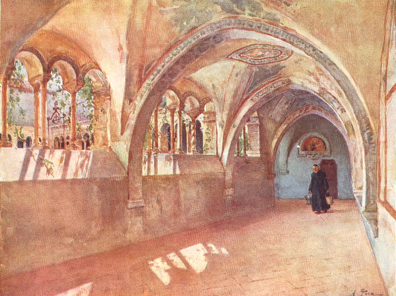 Associate Product ROME. Cloisters in Sta Scholastica, Subiaco 1905 old antique print picture