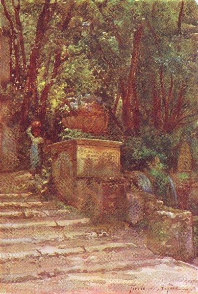 Associate Product ROME. Villa D'Este-Path of Hundred Fountains 1905 old antique print picture