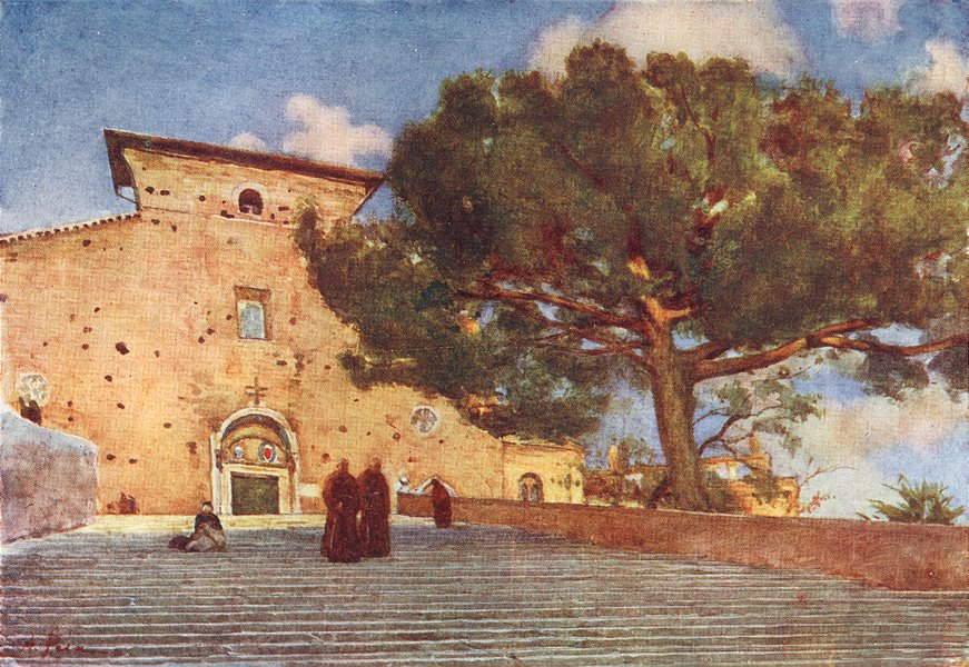 Associate Product ROME. Steps of Aracoeli 1905 old antique vintage print picture