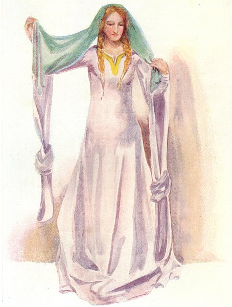 Associate Product COSTUME. A Woman of reign Stephen 1135-1154 1926 old vintage print picture