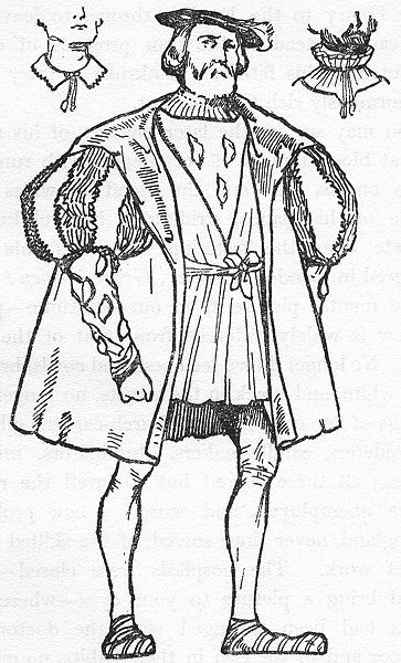 Associate Product ENGLAND. A Man costume of reign Henry VIII 1926 old vintage print picture