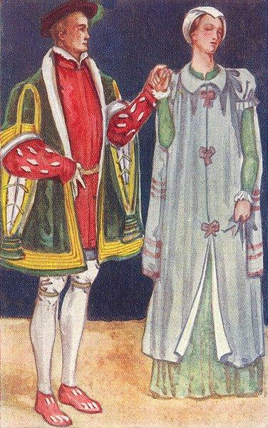 Associate Product DRESS. Man Woman reign Edward VI 1547-1553 1926 old vintage print picture