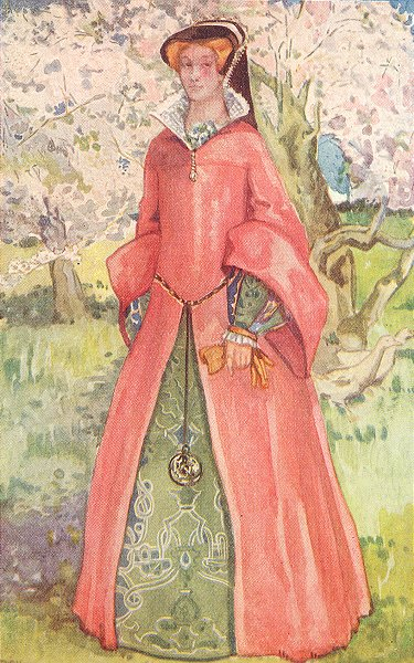 COSTUME. A Woman of reign Mary 1553-1558 1926 old vintage print picture