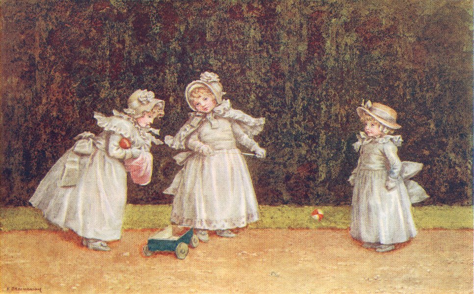 Associate Product KATE GREENAWAY. Little Go-Cart; 3 girls 1905 old antique vintage print picture