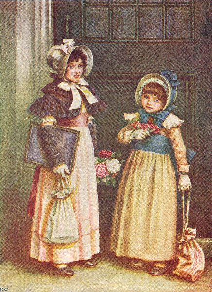Associate Product KATE GREENAWAY. 2 girls going to School 1905 old antique vintage print picture