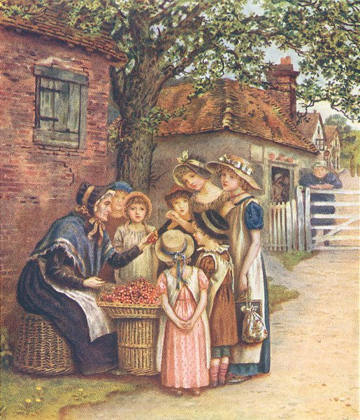 KATE GREENAWAY. Cherry Woman seller girls 1905 old antique print picture