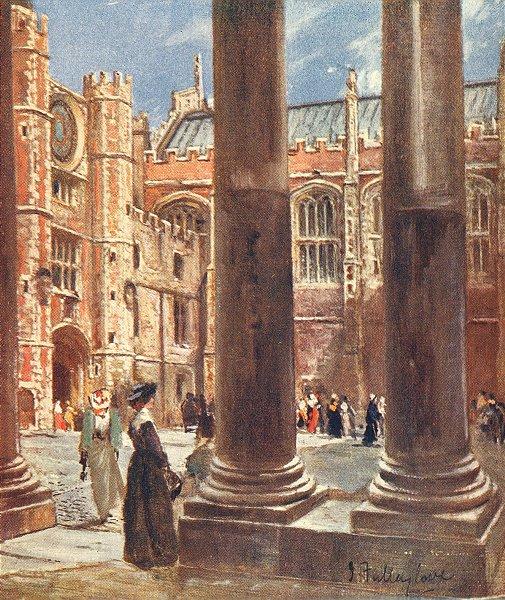 Associate Product LONDON. Clock court, Hampton Court Palace 1907 old antique print picture