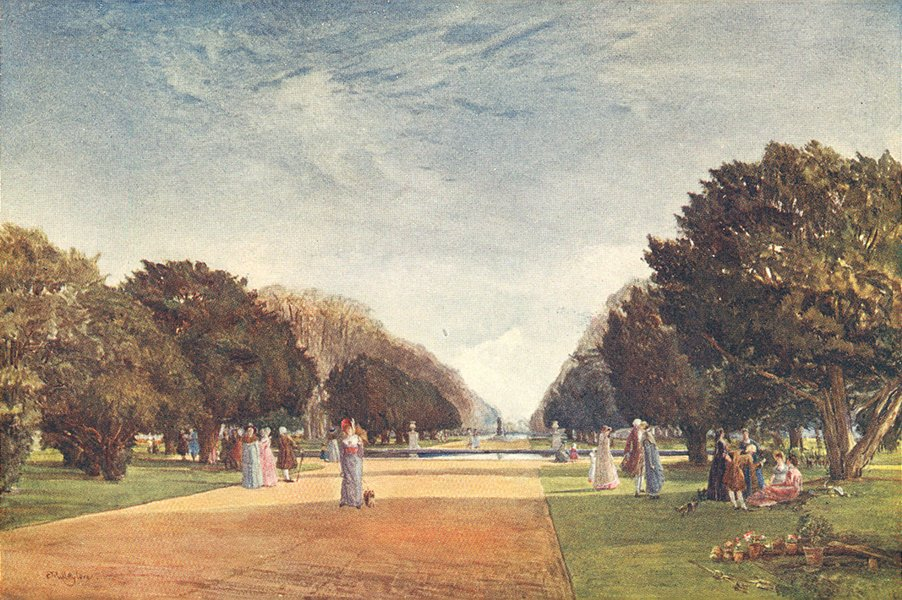 Associate Product LONDON. Great avenue, Hampton Court 1907 old antique vintage print picture