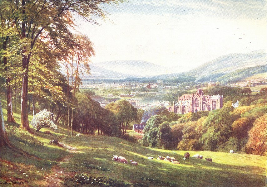 SCOTLAND. Melrose, Roxburghshire 1904 old antique vintage print picture