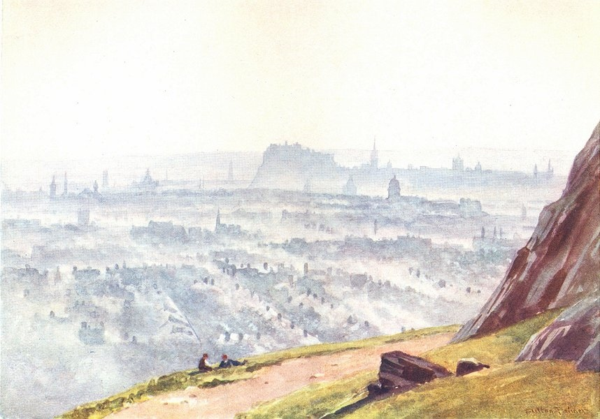 Associate Product EDINBURGH. Evening, from Salisbury Crags 1904 old antique print picture