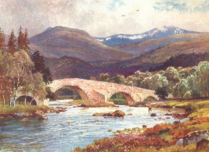 Associate Product SCOTLAND. Mar bridge & Lochnagar, Aberdeenshire 1904 old antique print picture