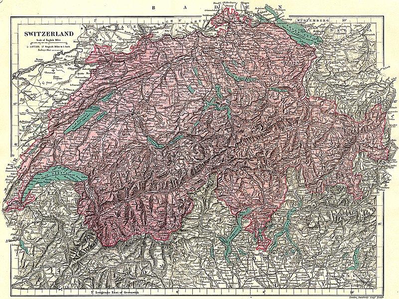 Associate Product SWITZERLAND  1891 old antique vintage map plan chart