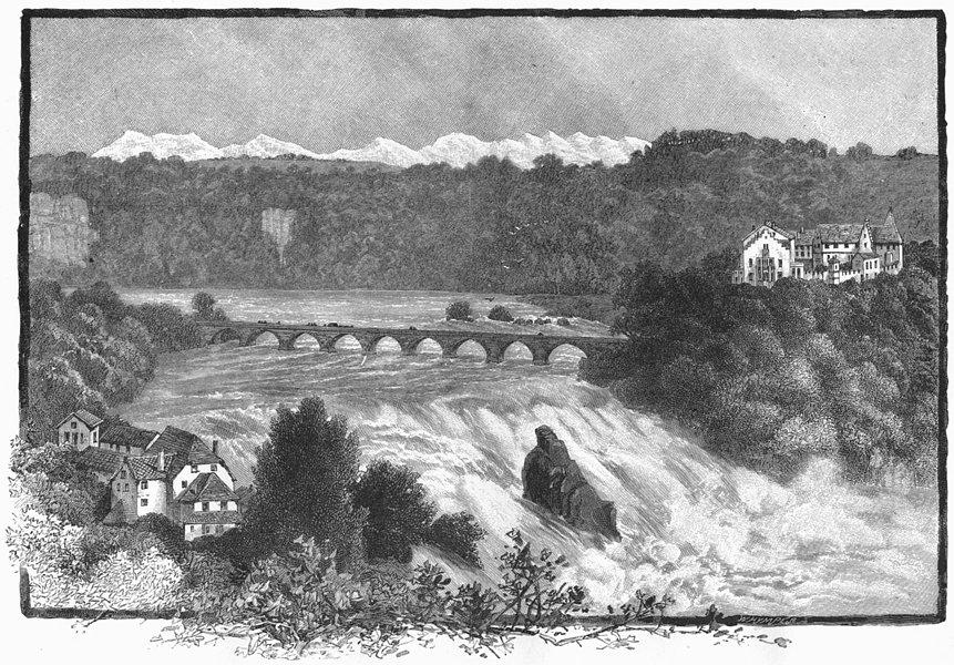 Associate Product SWITZERLAND. Falls of Rhine, Schaffhausen 1891 old antique print picture