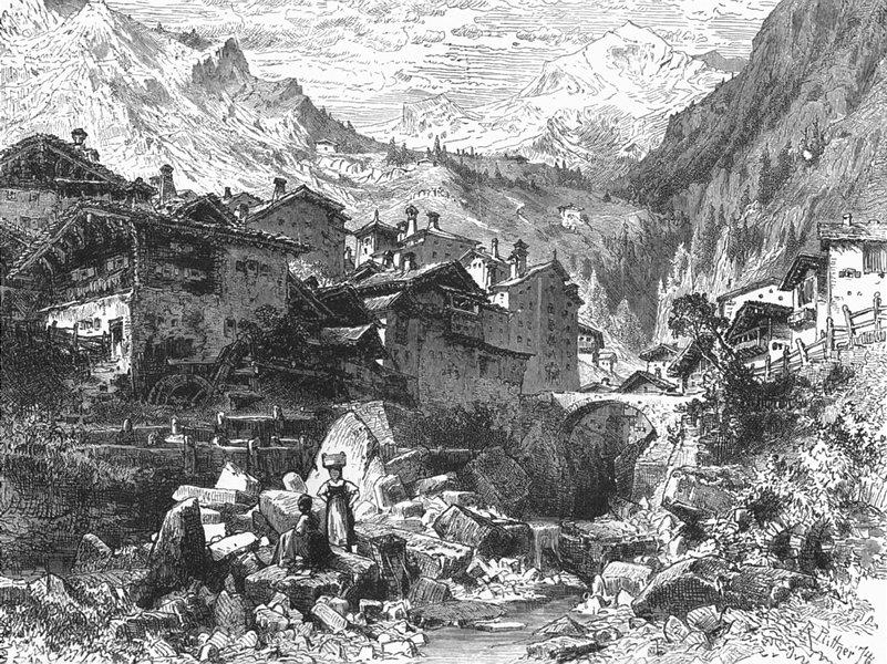 Associate Product SWITZERLAND. Village & pass of Splugen 1891 old antique vintage print picture