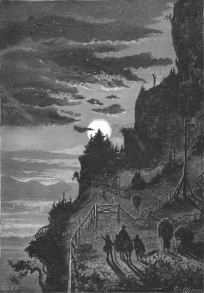 Associate Product SWITZERLAND. Night ascent of Rigi 1891 old antique vintage print picture