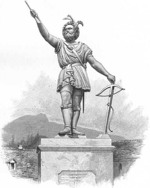SWITZERLAND. Statue of William Tell 1891 old antique vintage print picture