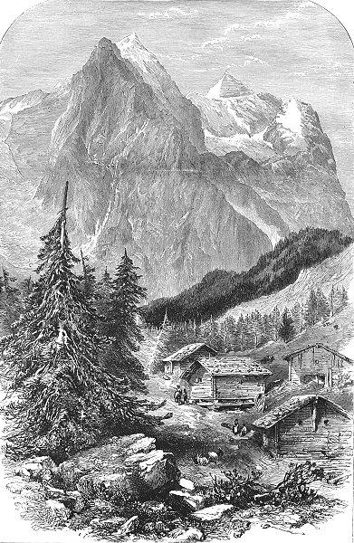 Associate Product SWITZERLAND. Wellhorn & Wetterhorn 1891 old antique vintage print picture