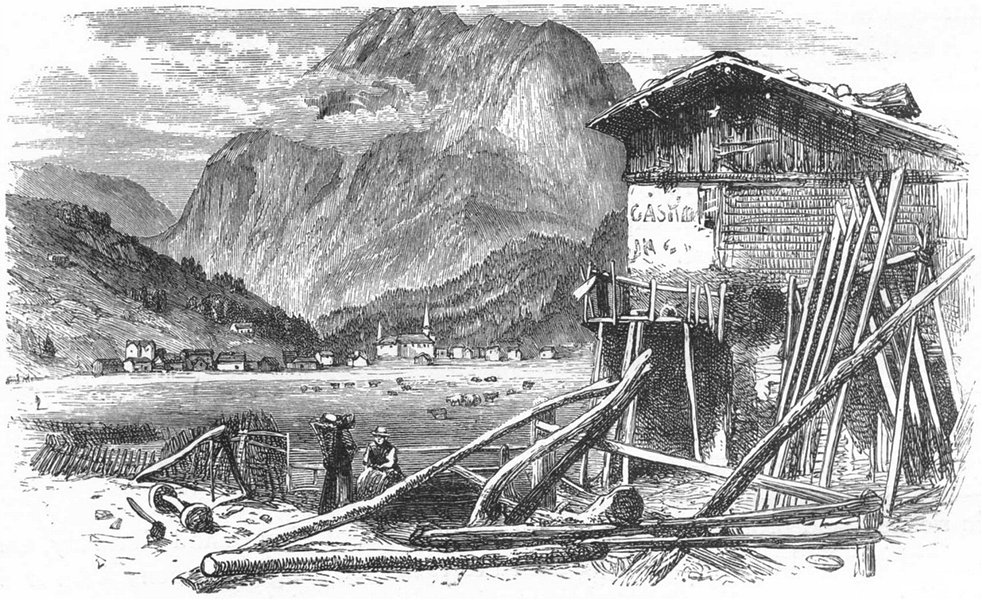 Associate Product SWITZERLAND. Saas 1891 old antique vintage print picture