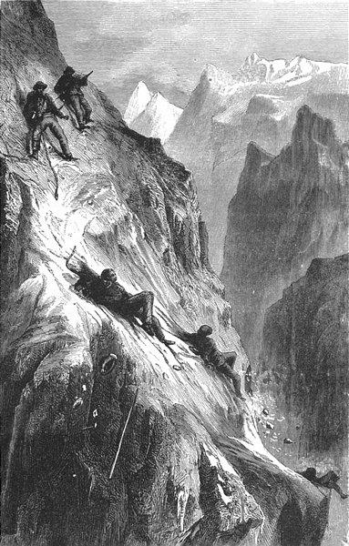 Associate Product SWITZERLAND. Accident, Matterhorn 1891 old antique vintage print picture
