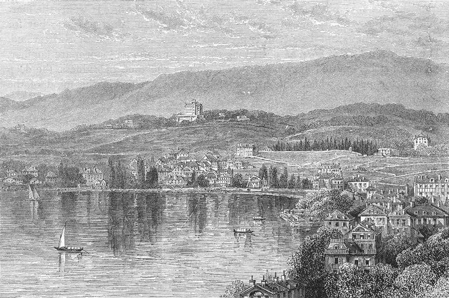 Associate Product SWITZERLAND. Clarens, lake Geneva 1891 old antique vintage print picture