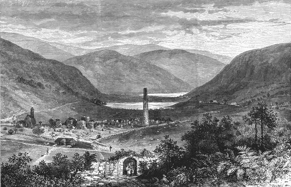 Associate Product IRELAND. Vale of Glendalough 1888 old antique vintage print picture